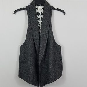 CAbi womens open front gray tweed vest size XL